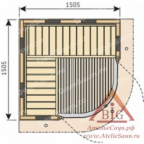 Инфракрасная cауна Harvia Rondium SG1515KL (1505x1505 мм)