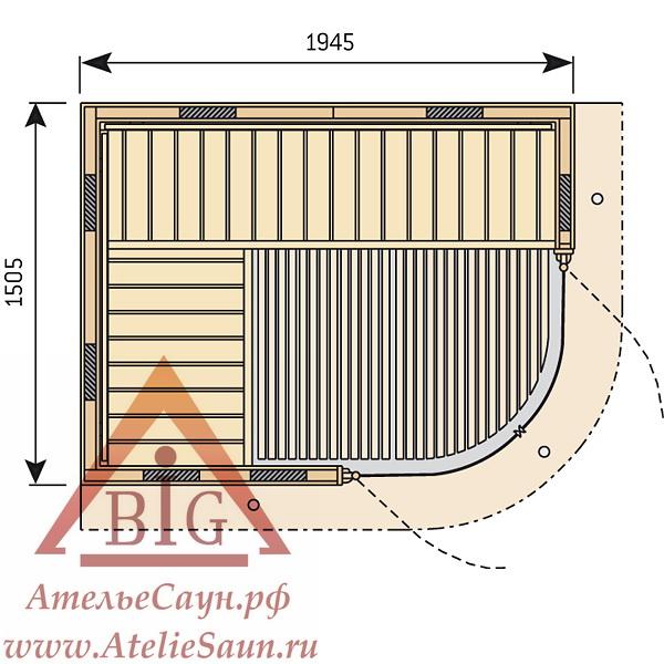 Инфракрасная сауна Harvia Rondium SG2015KL (1945x1505 мм)