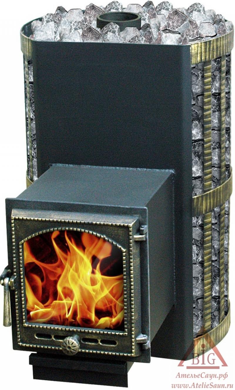 Дровяная печь Везувий СКИФ 28 ВКТ (с теплообменником)