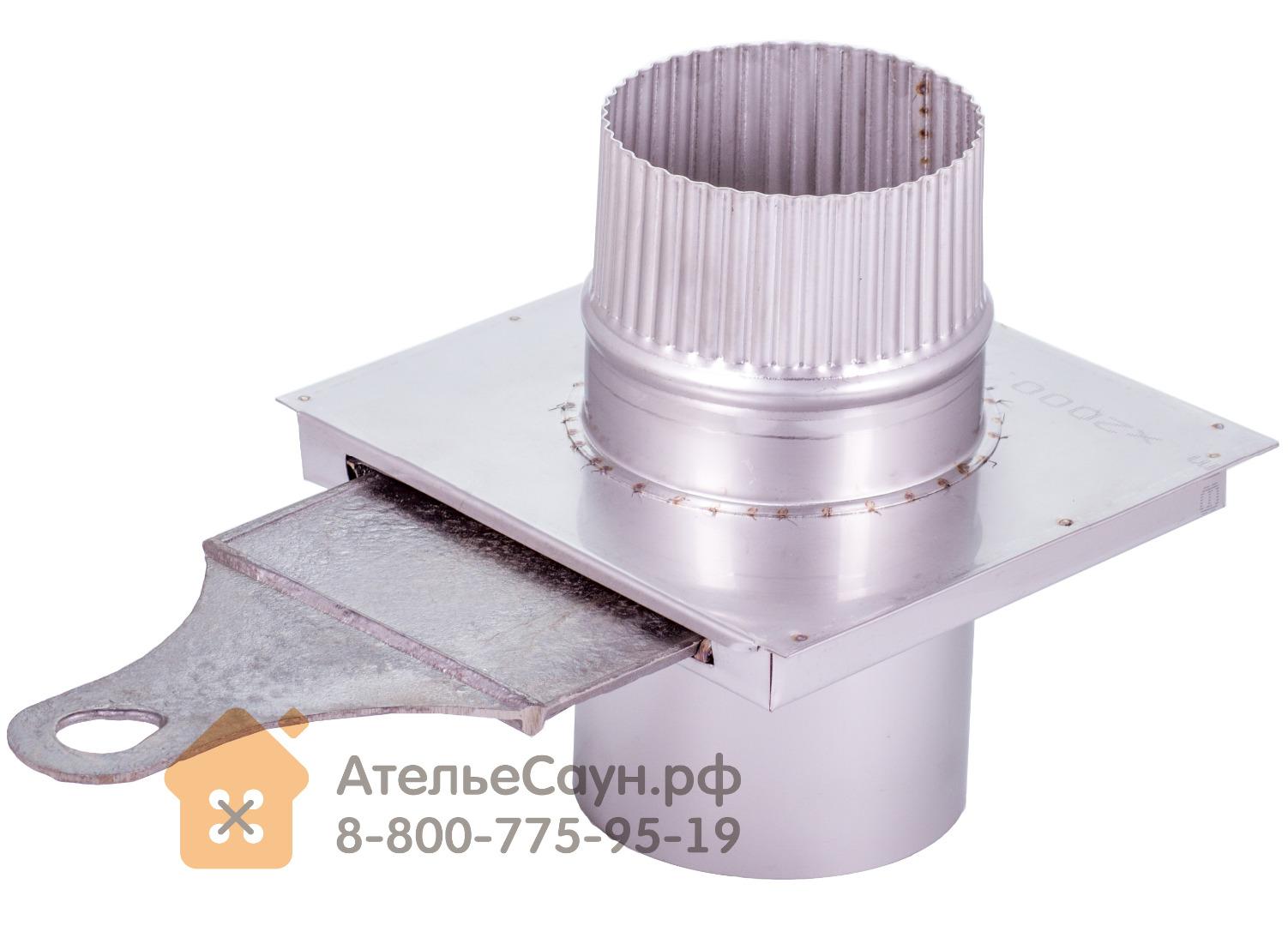 Шибер выдвижной D115 мм с чугунной вставкой (нерж. 0,5 мм AISI 304)