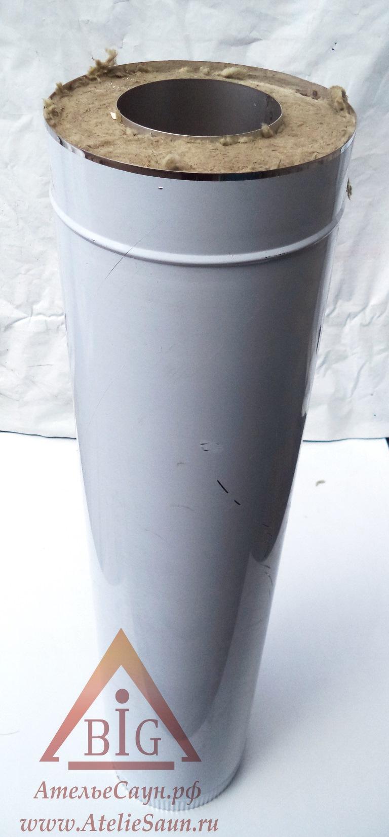 Труба сэндвич D115/215 мм L = 1,0 м (нерж. 0,5/0,5 мм AISI 304 внутри)