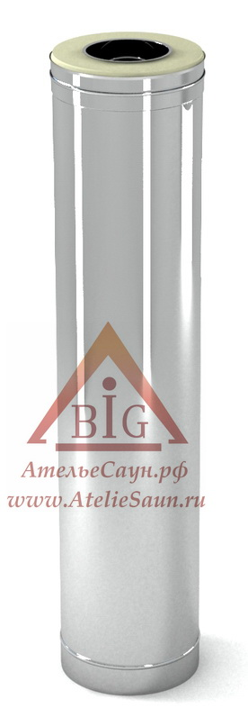 Труба сэндвич D115/215 мм L = 1,0 м (нерж. 0,5/0,8 мм AISI 304 внутри)