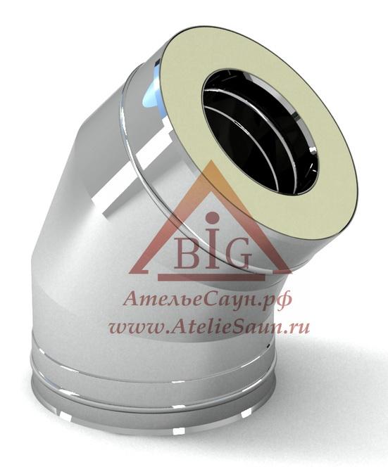 Отвод с изоляцией D115/215 мм угол 45 (нерж. 0,5/0,5 мм AISI 304 внутри)