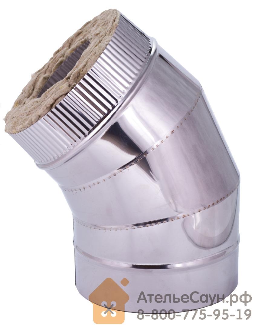 Отвод с изоляцией D115/215 мм угол 45 (нерж. 0,5/0,8 мм AISI 304 внутри)