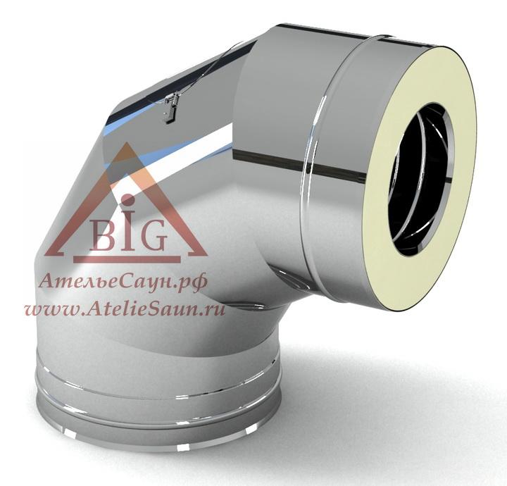 Отвод с изоляцией D115/215 мм угол 90 (нерж. 0,5/0,8 мм AISI 304 внутри)