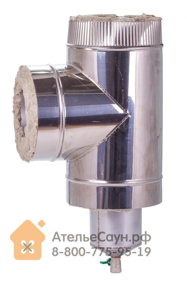 Тройник с конденсато-отводом D115/215 мм (нерж.0,8 мм AISI 304)