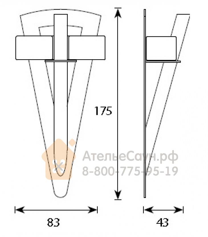 Светильник для турецкой парной Cariitti Факел TL-100 Led (IP67, акриловый стержень, 1545165)