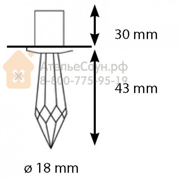 Хрустальная насадка Cariitti CR-43 (1540066, хром, длина кристалла - 43 мм)