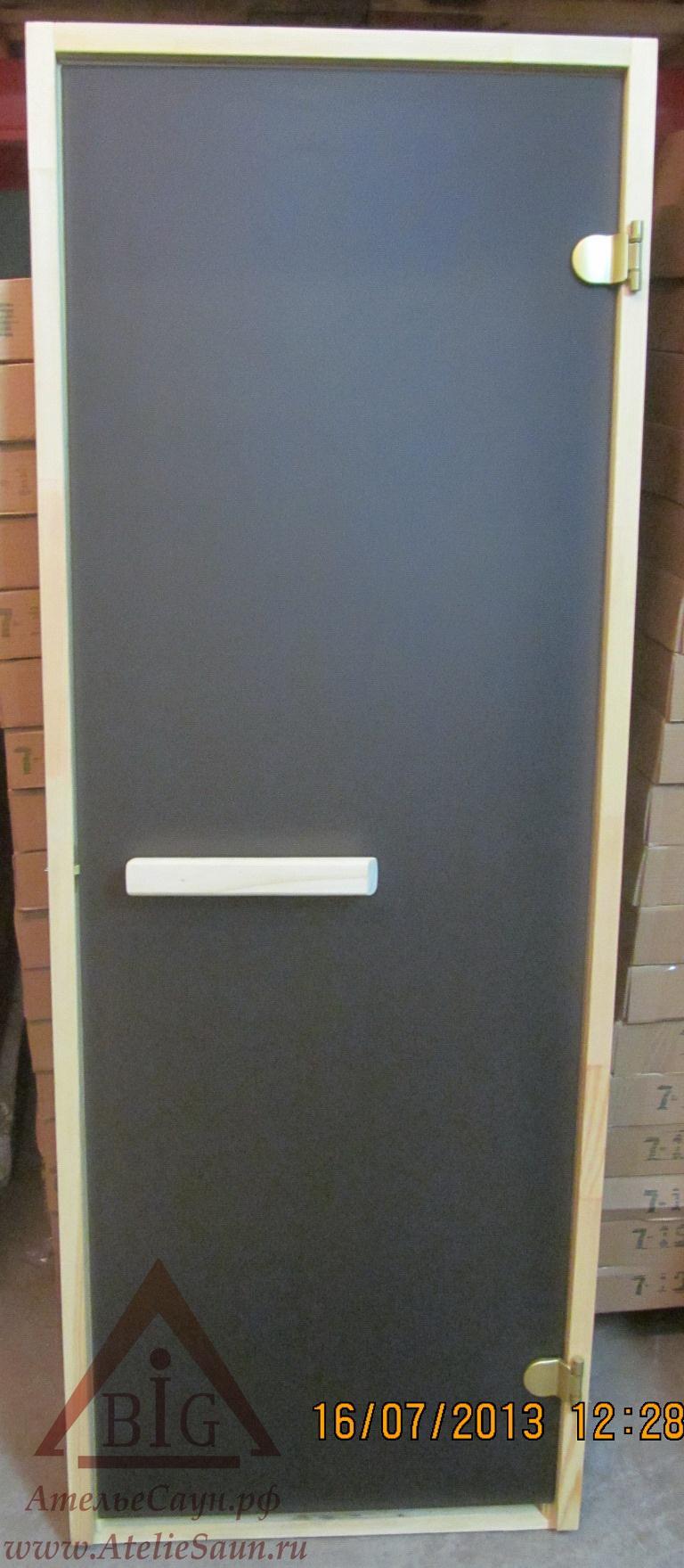 Дверь для сауны 8х19 (матовая бронза, сосна, прямоугольная ручка)