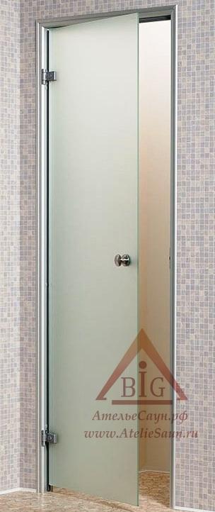 Дверь для турецкой парной Андрэс 7х20 (стеклянная, сатин, левая, коробка алюминий)