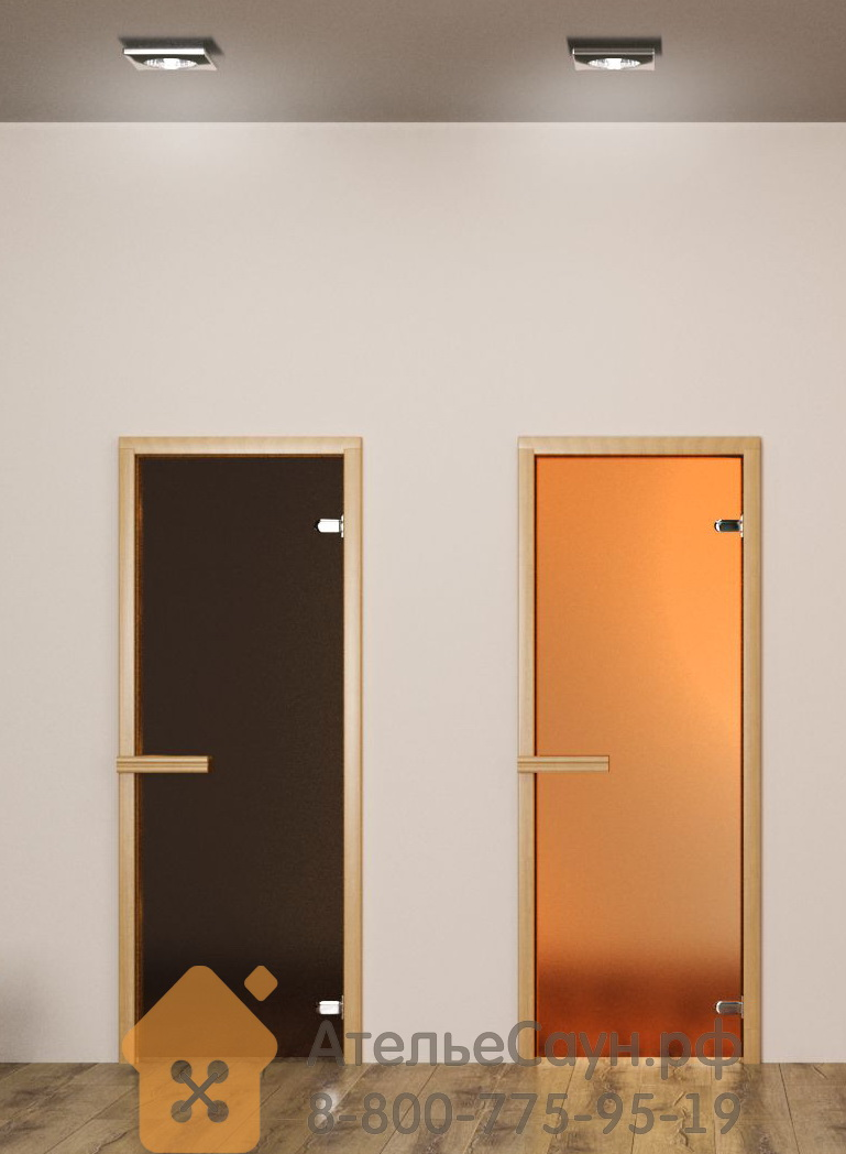 Дверь для сауны АКМА Aspen M 7х19 (матовая бронза, 8 мм, коробка осина, арт. 225M)