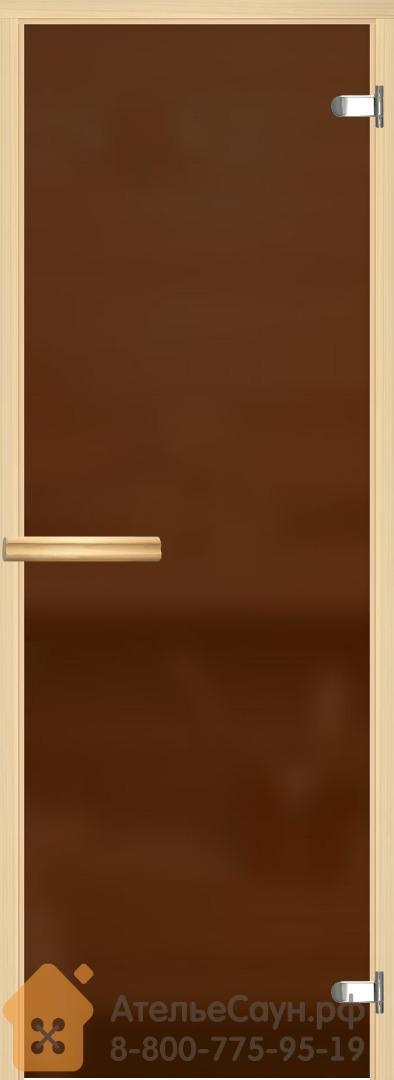 Дверь для сауны и бани АКМА Aspen M 8х19 (матовая бронза, 8 мм, коробка осина, арт. 245M)