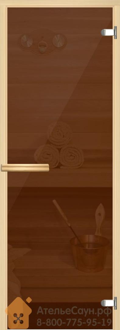 Дверь для сауны и бани АКМА Linden M 6х18 (бронза, 8 мм, коробка липа, арт. 229M)