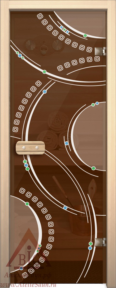 Дверь для сауны АКМА Арт-серия GlassJet КОЛЬЦА 7х19 (коробка липа)