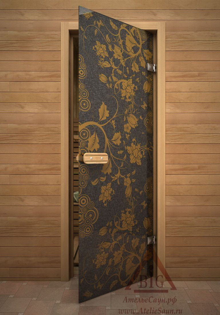 Дверь для сауны АКМА Арт-серия GlassJet ЖЕЛТЫЙ УЗОР 7х19 (коробка липа)