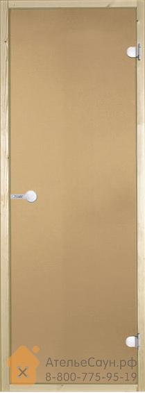 Дверь для сауны Harvia 7х19 (стеклянная, бронза, коробка ольха, с порогом)