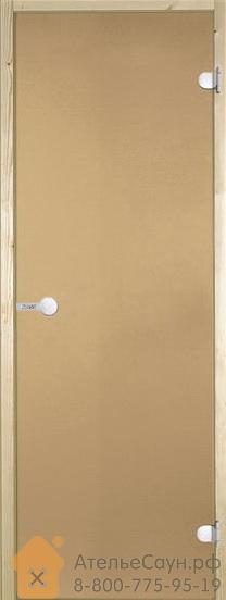Дверь для сауны Harvia 7х19 (стеклянная, бронза, коробка осина, с порогом)