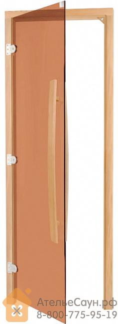 Дверь для бани Sawo 741-3SGAL (7х19, бронза, левая, без порога, с вертикальной ручкой, осина)
