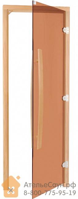 Дверь для бани Sawo 741-3SGAR (7х19, бронза, правая, без порога, с вертик. ручкой, осина)