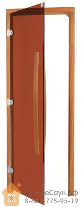 Дверь для бани Sawo 741-3SGDL (7х19, бронза, левая, без порога, с вертикальной ручкой, кедр)