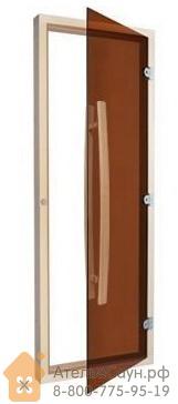 Дверь для бани Sawo 741-4SGA (7х19, бронза, с порогом, с вертикальной ручкой, осина)