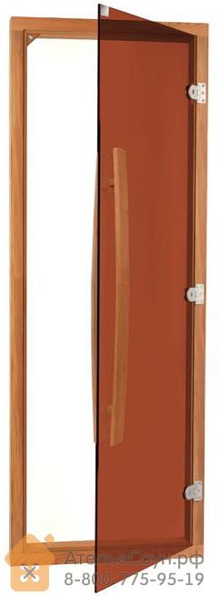 Дверь для бани Sawo 741-4SGD (7х19, бронза, с порогом, с вертикальной ручкой, кедр)
