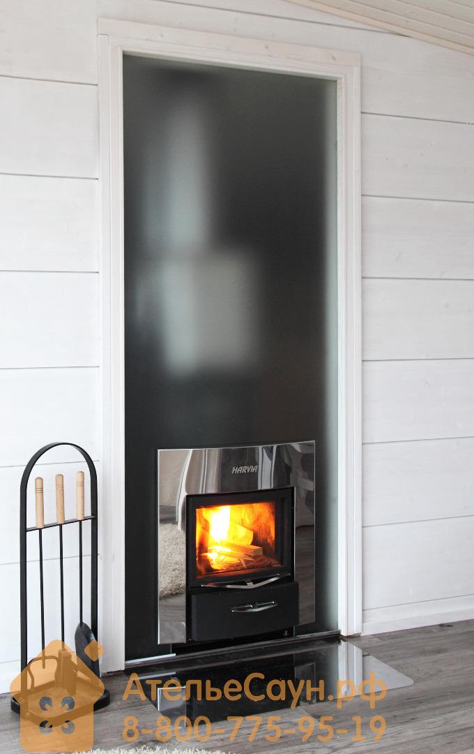 Стеклянная стенка для печей серии Duo 9х21 (сатин с белой алюминиевой рамой, DL92105AA)