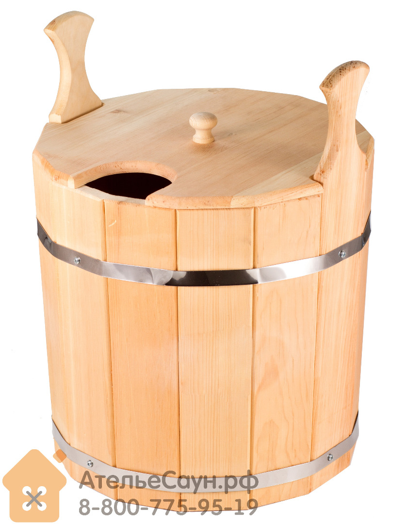 Запарник для бани с крышкой 20 л (сибирский кедр)