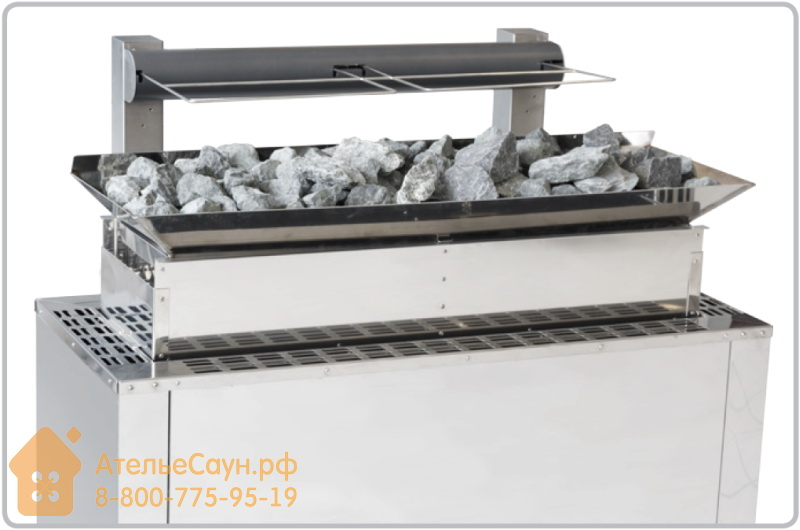 Увеличение объема камней + 30 кг и противопожарная защита печи EOS 34G (24-36 кВт)