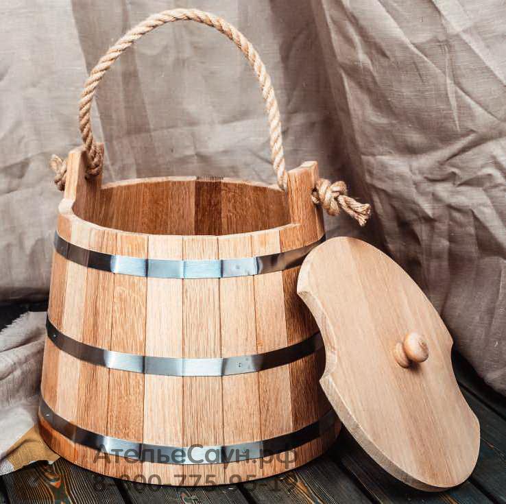 Запарник WoodSon 18 л из дуба, с веревкой и крышкой