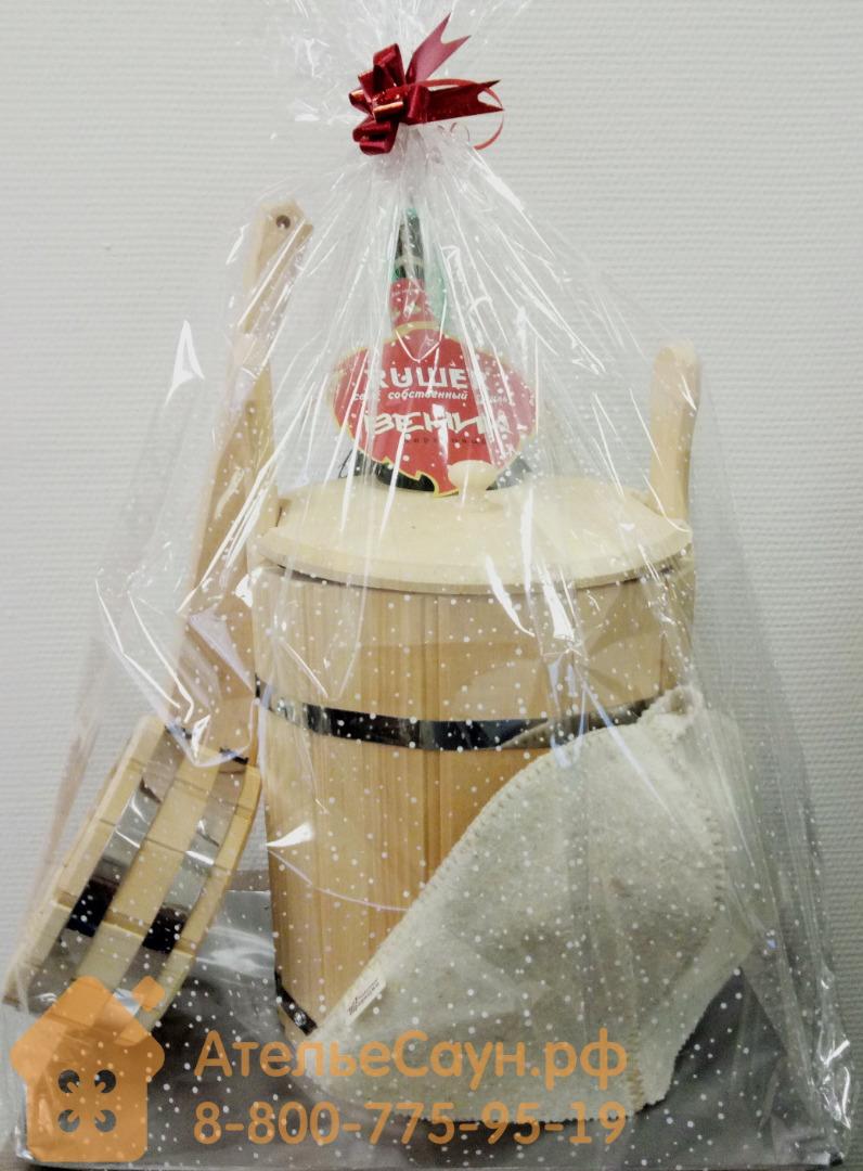 Банный подарочный набор №1 (запарник, ковш, шапка, веник)