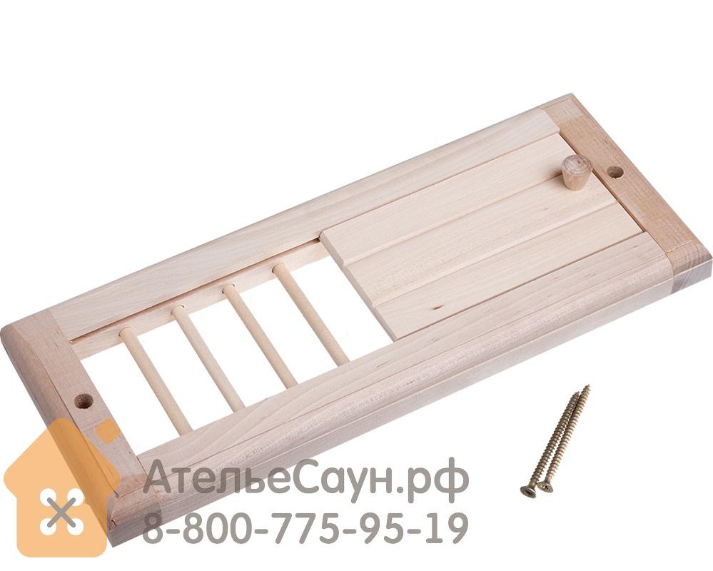 Вентиляционная решетка с задвижкой (липа, 31.5х16.5 см, арт. БШ 32141)