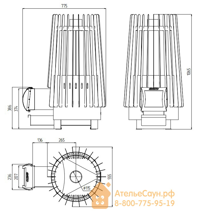 Печь для бани Grill D Cometa 180 (Long black)