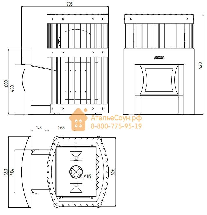 Печь для бани Grill D Fortuna 200 G (Window black)