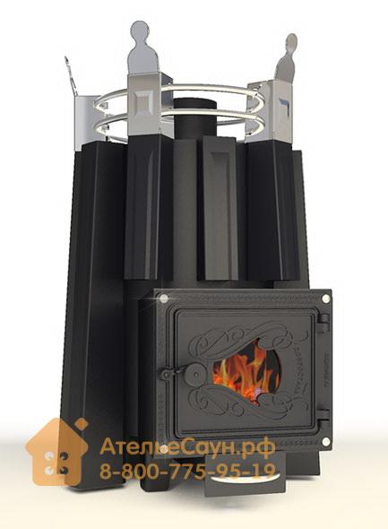 Печь ДобросталЬ Августа стронг со стеклом (черная)