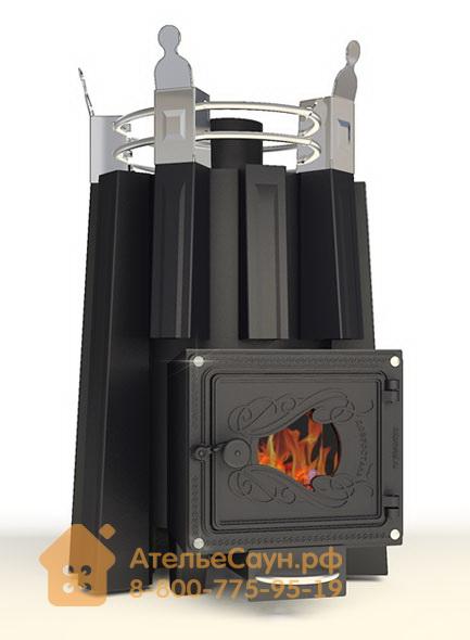 Печь ДобросталЬ Фредерика стронг со стеклом (черная)