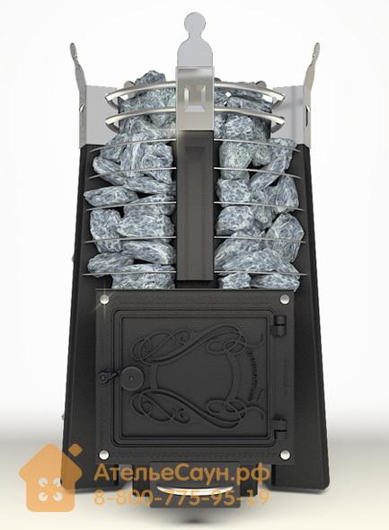 Печь ДобросталЬ Августа стоун (черная)