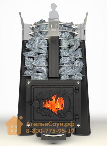 Печь ДобросталЬ Августа стоун со стеклом (черная)