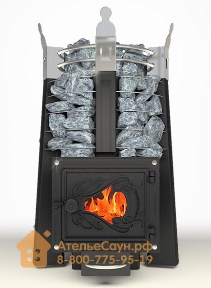 Печь ДобросталЬ Августа стоун стронг со стеклом (черная)