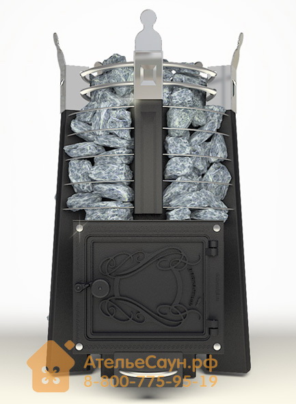 Печь ДобросталЬ Фредерика стоун стронг (черная)