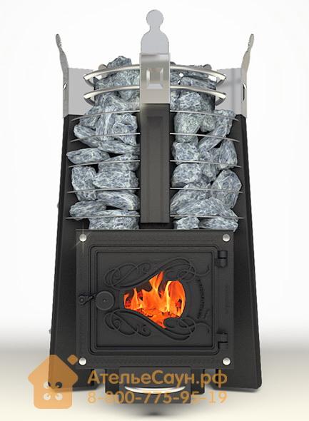 Печь ДобросталЬ Фредерика стоун со стеклом (черная)