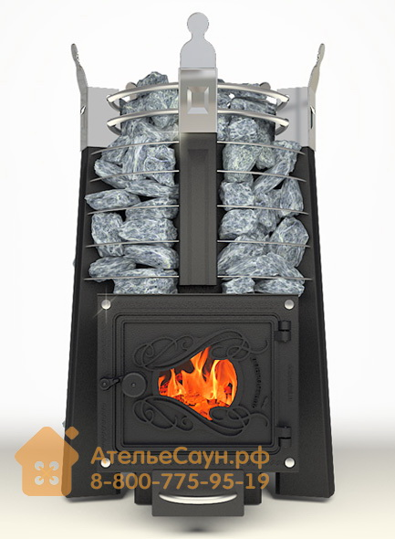 Печь ДобросталЬ Фредерика стоун стронг со стеклом (черная)