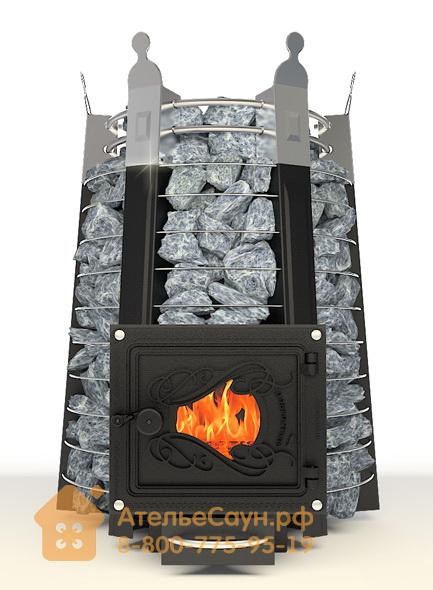 Печь ДобросталЬ Екатерина Великая стоун со стеклом (черная)