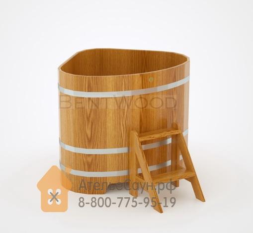 Купель для бани дубовая угловая 1,1х1,1 м (натуральный дуб, полимерное покрытие, H = 1,0 м)