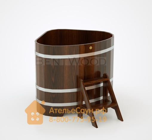 Купель для бани дубовая угловая 1,1х1,1 м (мореный дуб, полимерное покрытие, H = 1,0 м)