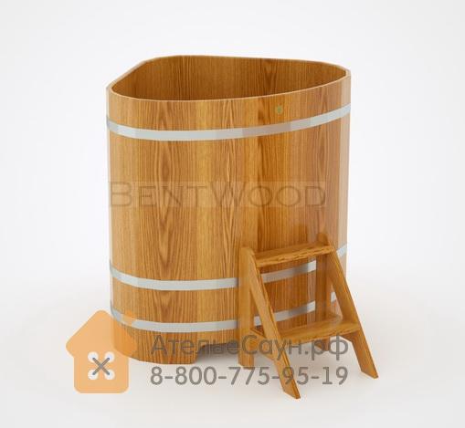 Купель для бани дубовая угловая 1,1х1,1 м (натуральный дуб, полимерное покрытие, H = 1,2 м)