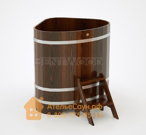 Купель для бани дубовая угловая 1,1х1,1 м (мореный дуб, полимерное покрытие, H = 1,2 м)