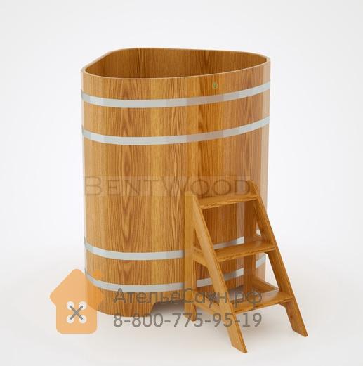 Купель для бани дубовая угловая 1,1х1,1 м (натуральный дуб, полимерное покрытие, H = 1,4 м)