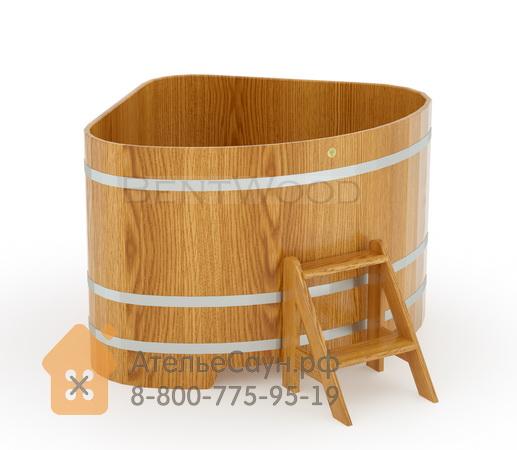 Купель для бани дубовая угловая 1,31х1,31 м (натуральный дуб, полимерное покрытие, H = 1,0 м)