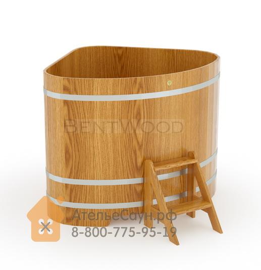 Купель для бани дубовая угловая 1,31х1,31 м (натуральный дуб, полимерное покрытие, H = 1,2 м)